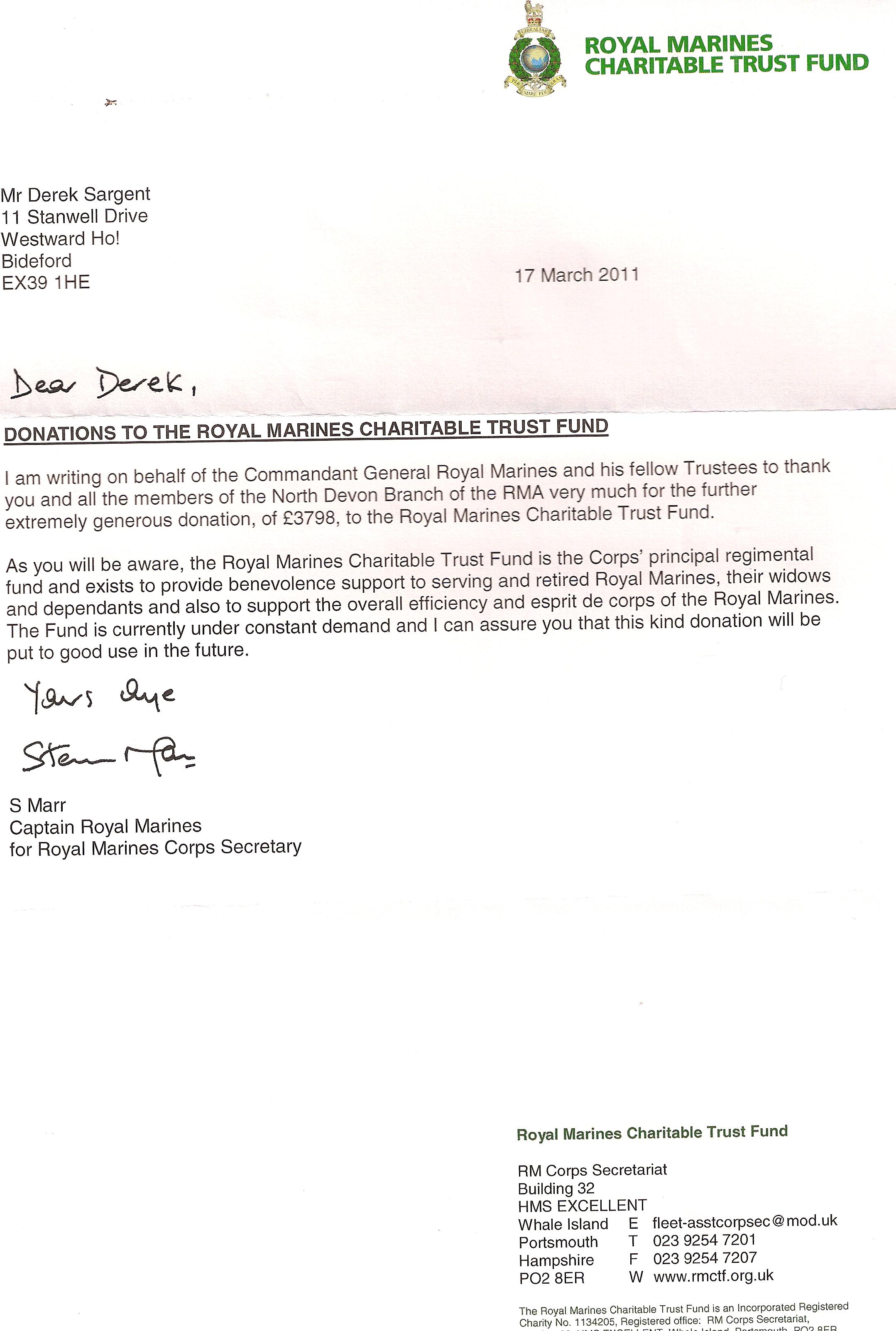 Royal Marines Association North Devon Appreciation Letters